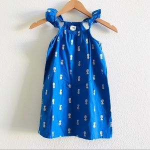 OLD NAVY pineapple print dress royal blue cotton S